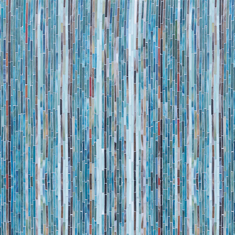 Sharper Stripes, a hand-nipped jewel glass mosaic, shown in Alexandrite, Schist, Jasper, Garnet, Zircon, Jade, Serpentine with a Sea Glass™ finish, is part of the Natural Selections™ Collection by Kevin O'Brien for New Ravenna.