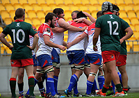 Horowhenua Kapiti players celebrate Tyson Mark's first try during the Heartland Championship rugby match between Horowhenua Kapiti and Wairarapa Bush at Westpac Stadium in Wellington, New Zealand on Sunday, 1 October 2017. Photo: Dave Lintott / lintottphoto.co.nz