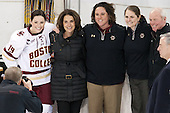 Danielle Doherty (BC - 19), Patricia Doherty, Courtney Kennedy (BC - Associate Head Coach), Katie King Crowley (BC - Head Coach), Thomas Doherty -  The Boston College Eagles defeated the visiting Boston University Terriers 5-0 on BC's senior night on Thursday, February 19, 2015, at Kelley Rink in Conte Forum in Chestnut Hill, Massachusetts.