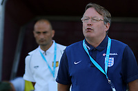 England U18 Head Coach, Neil Dewsnip, proudly sings the National Anthem during England Under-18 vs Scotland Under-20, Toulon Tournament Semi-Final Football at Stade Parsemain on 8th June 2017