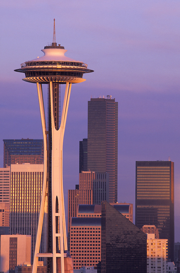 Seattle skyline at sunset, Seattle, Washington