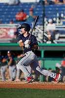 State College Spikes David Vinsky (11) bats during a NY-Penn League game against the Batavia Muckdogs on July 1, 2019 at Dwyer Stadium in Batavia, New York.  Batavia defeated State College 5-4.  (Mike Janes/Four Seam Images)