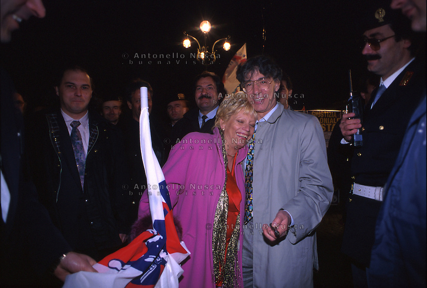 December 1992, Varese Italy. Umberto Bossi, former minister in Berlusconi's cabinet, and founder of the right-wing, xenophobic Italian party Lega Nord, just resigned from his office as party secretary. This happens as consequence of a series of scandals linked to Bossi and other major figures of Lega Nord..Umberto Bossi during al rally of Lega Nord in Varese.