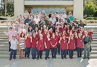 Staff from Facilities Management pose for a group photo outside the AGC Admin. Building, Aug. 17, 2015.<br /> (Photo by Marc Campos, Occidental College Photographer)