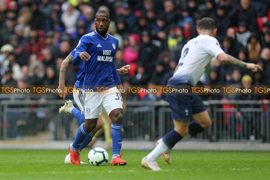 Junior Hoilett of Cardiff City and Kieran Trippier of Tottenham Hotspur during Tottenham Hotspur vs Cardiff City, Premier League Football at Wembley Stadium on 6th October 2018