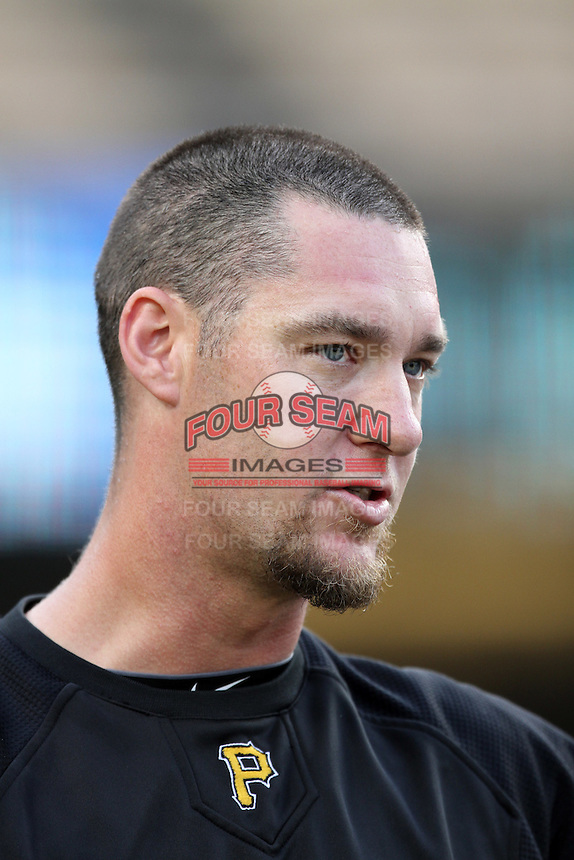 Pittsburgh Pirates outfielder Ryan Ludwick #36 before a game against the Los Angeles Dodgers at Dodger Stadium on September 16, 2011 in Los Angeles,California. Los Angeles defeated Pittsburgh 7-2.(Larry Goren/Four Seam Images)
