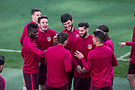 Saul Iniguez,Jose Maria Gimenez, Yannick Ferreira Carrasco  Thomas Partey, Filipe Luis of Atletico de Madrid during the training before the match of Champions League between Real Madrid and Atletico de Madrid at Santiago Bernabeu Stadium  in Madrid, Spain. May 01, 2017. (ALTERPHOTOS/Rodrigo Jimenez)