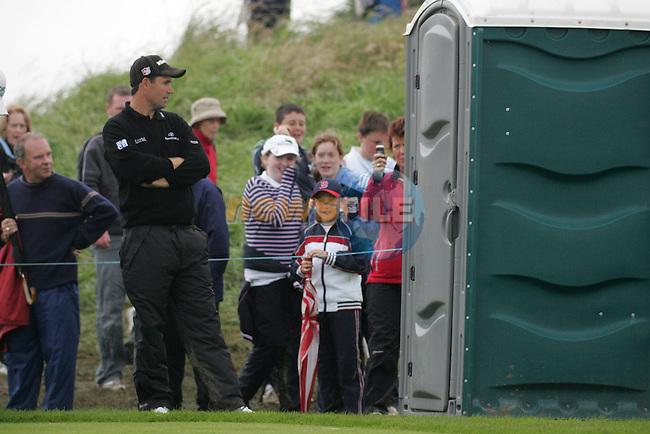 Padraig Harrington queues for the loo on the par 4 13th hole during the first round of the Smurfit Kappa European Open at The K Club, Strffan,Co.Kildare, Ireland 5th July 2007 (Photo by Eoin Clarke/NEWSFILE)