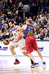 Real Madrid's Sergio Llull and FC Barcelona Lassa's Brad Oleson duringTurkish Airlines Euroleague match between Real Madrid and FC Barcelona Lassa at Wizink Center in Madrid, Spain. March 22, 2017. (ALTERPHOTOS/BorjaB.Hojas)