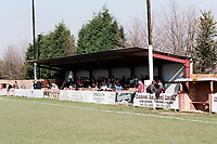 The main stand at Collier Row FC Football Ground, Sungate, Havering, Essex, pictured on 8th October 1994