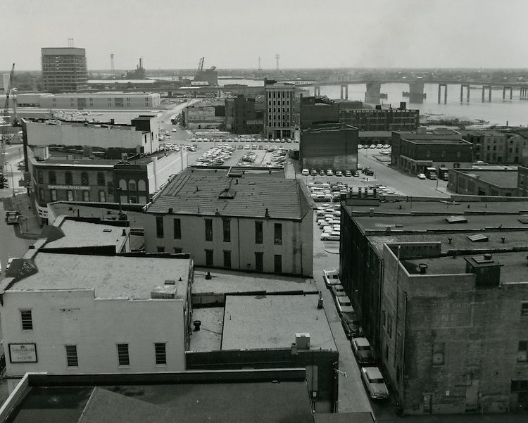 1964 May 11..Redevelopment.Downtown South (R-9)..View looking East toward Berkley Bridge..HAYCOX - R. V. Fishbeck.NEG# 64-509-23.NRHA# 3277..
