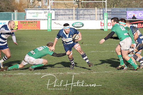 1.2.2014, Coventry, England.  Matt Tibbatts (Coventry) on the charge during the Division One fixture between Coventry and Wharfedale RFC from the Butts Park Arena.