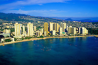 Aerial of Waikiki Coastline From the water
