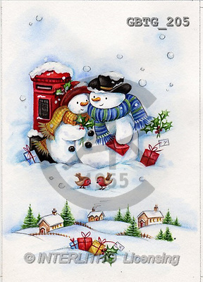 Theresa, CHRISTMAS SANTA, SNOWMAN, paintings(GBTG205,#X#) Weihnachtsmänner, Schneemänner, Weihnachen, Papá Noel, muñecos de nieve, Navidad, illustrations, pinturas
