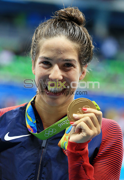 RIO DE JANEIRO, BRAZIL - AUGUST 12:  Maya Dirado of the USA wins Gold in the Women's 200m Backstroke Final on Day 7 of the Rio 2016 Olympic Games at the Olympic Aquatics Stadium on August 12, 2016 in Rio de Janerio, Brazil.  (Photo by Vaughn Ridley/SWpix.com)