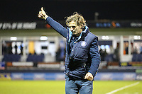 Gareth Ainsworth (Manager) of Wycombe Wanderers puts his thumb up to the travelling fans after the Sky Bet League 2 match between Luton Town and Wycombe Wanderers at Kenilworth Road, Luton, England on 26 December 2015. Photo by David Horn.