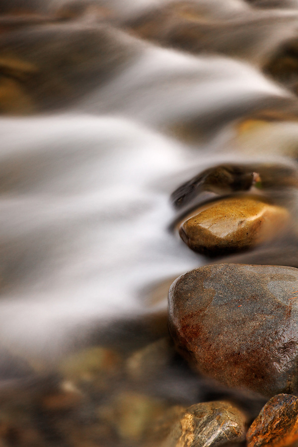 Water flowing over stones in Elwah River, Olympic National Park, Washington