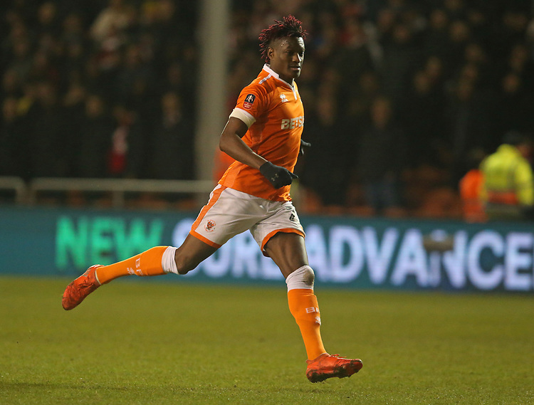 Blackpool's Armand Gnanduillet<br /> <br /> Photographer Stephen White/CameraSport<br /> <br /> Emirates FA Cup Third Round - Blackpool v Arsenal - Saturday 5th January 2019 - Bloomfield Road - Blackpool<br />  <br /> World Copyright &copy; 2019 CameraSport. All rights reserved. 43 Linden Ave. Countesthorpe. Leicester. England. LE8 5PG - Tel: +44 (0) 116 277 4147 - admin@camerasport.com - www.camerasport.com