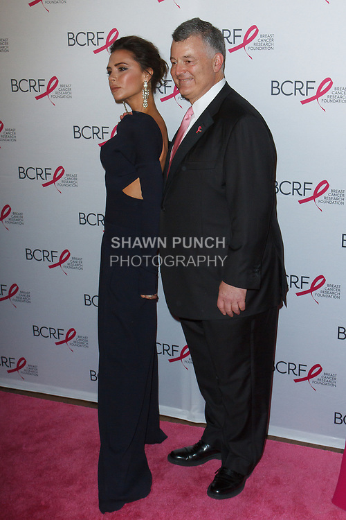 "Victoria Beckam and William Lauder attend The Breast Cancer Research Foundation ""Super Nova"" Hot Pink Party on May 12, 2017 at the Park Avenue Armory in New York City."