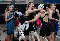 Final of the Women 200SC meter Freestyle Relay, at the New Zealand Short Course Swimming Championships, National Aquatic Centre, Auckland, New Zealand, Friday 4th October 2019. Photo: Brett Phibbs/www.bwmedia.co.nz/SwimmingNZ