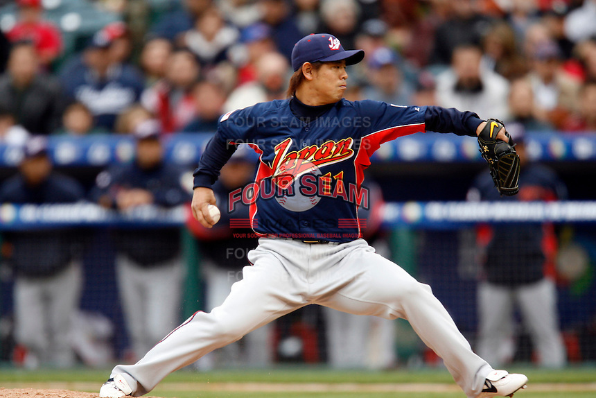 Naoyuki Shimizu of Japan during World Baseball Championship at Angel Stadium in Anaheim,California on March 12, 2006. Photo by Larry Goren/Four Seam Images