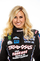 Feb 10, 2016; Pomona, CA, USA; NHRA funny car driver Courtney Force poses for a portrait during media day at Auto Club Raceway at Pomona. Mandatory Credit: Mark J. Rebilas-USA TODAY Sports
