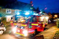 Fire Appliance attending an emergency call Oxfordshire UK. This image may only be used to portray the subject in a positive manner..©shoutpictures.com..john@shoutpictures.com
