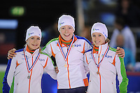 SHORTTRACK: AMSTERDAM: 05-01-2014, Jaap Edenbaan, NK Shorttrack, podium 500 meter, Yara van Kerkhof, Jorien ter Mors, Rianne de Vries, ©foto Martin de Jong
