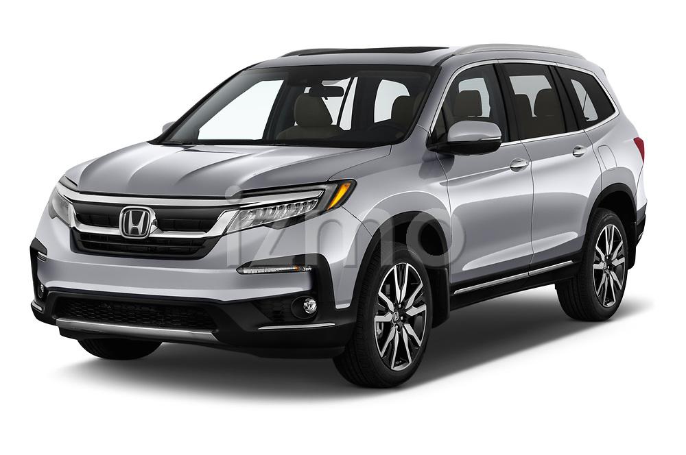 2020 Honda Pilot Touring 5 Door SUV angular front stock photos of front three quarter view