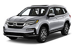 2020 Honda Pilot Touring 5 Door SUV angular front stock photos of front three quarter view