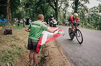 Bask rider Ion Izagirre (ESP/Bahrain-Merida) rolling by<br /> <br /> Stage 20 (ITT): Saint-Pée-sur-Nivelle >  Espelette (31km)<br /> <br /> 105th Tour de France 2018<br /> ©kramon