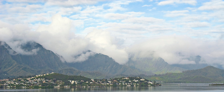 Clouds rolling over the Koolau into Kaneohe Bay.