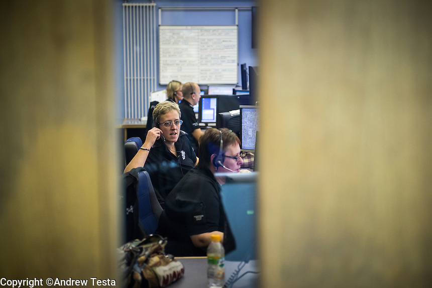 UK.Cleethorpes . 20th October 2013<br /> The control room at Grimsby police station<br /> &copy;Andrew Testa/Panos for the Sunday Times Magazine