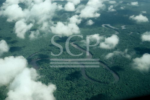 Tefe River, Amazonas State, Brazil. Plains stage river flowing through the Amazon rainforest with meanders and oxbow lakes.