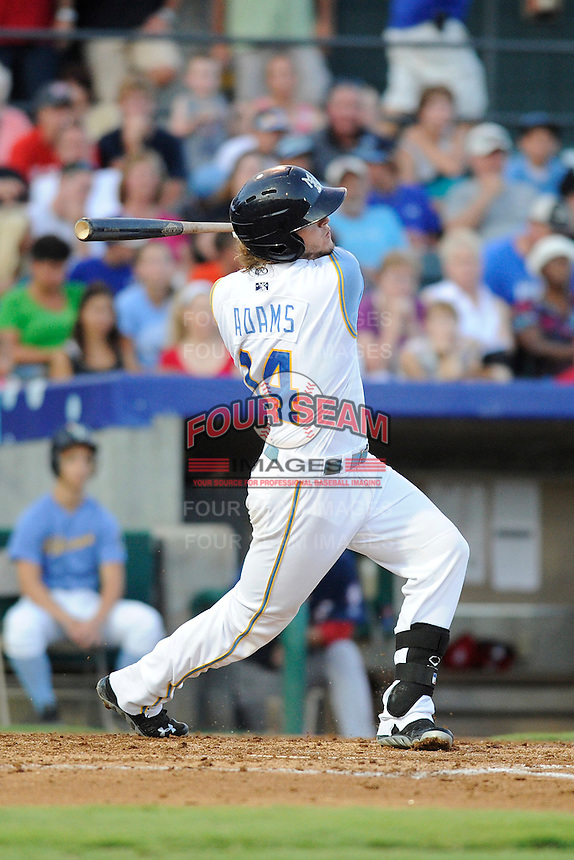 Designated hitter Trever Adams (14) of the Myrtle Beach Pelicans in a game against the Potomac Nationals on Friday, August 9, 2013, at TicketReturn.com Field in Myrtle Beach, South Carolina. Myrtle Beach won, 3-2. (Tom Priddy/Four Seam Images)