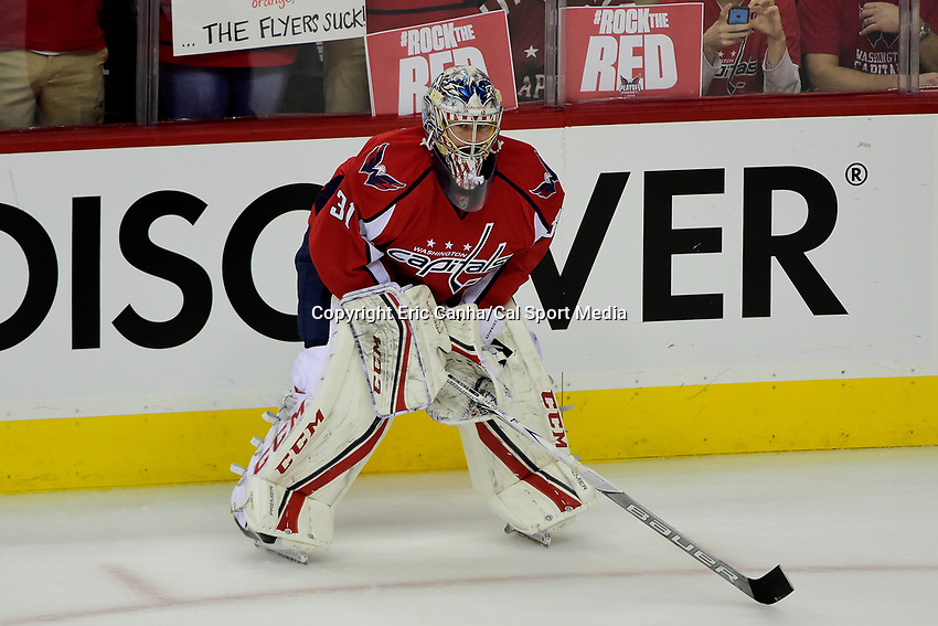 Friday, April 22, 2016: Washington Capitals goalie Philipp Grubauer (31) waits for his turn during warm ups before game 5 of the first round of the National Hockey League Eastern Conference playoffs  between the Philadelphia Flyers and the Washington Capitals held at the Verizon Center in Washington, DC. The Flyers defeat the Capitals 2-0. Eric Canha/CSM