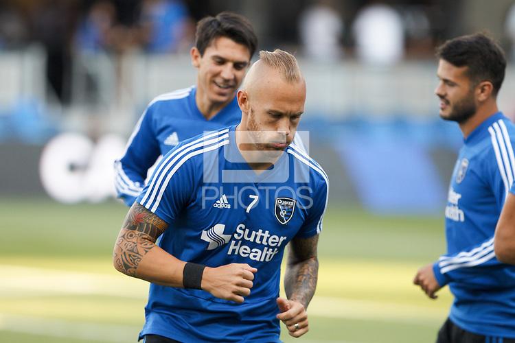 San Jose, CA - Saturday July 28, 2018: Magnus Eriksson during a Major League Soccer (MLS) match between the San Jose Earthquakes and Real Salt Lake at Avaya Stadium.