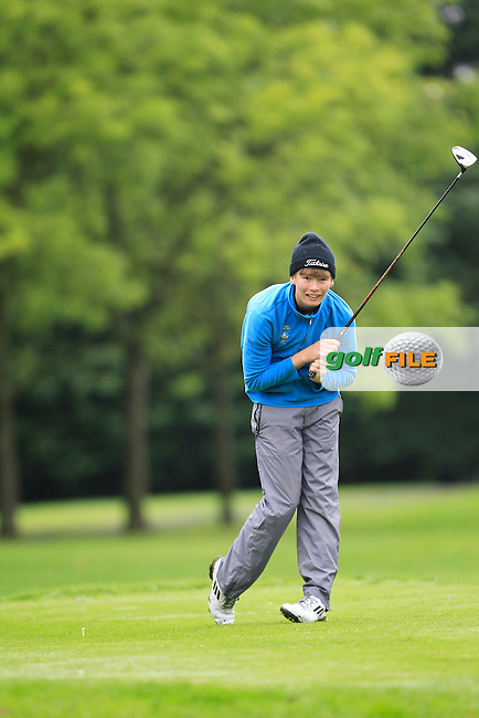 Jack Healy (Westport) on the 18th tee during Practice day for the AIG Cups &amp; Shields Finals in Royal Tara Golf Club on Tuesday 17th September 2013.<br /> Picture:  Thos Caffrey / www.golffile.ie