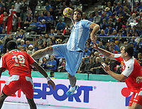 18.01.2013 Barcelona, Spain. IHF men's world championship, prelimanary round. Picture show  sebastian, simonet  in action during game between Arnetina vs Tunisia at Palau St Jordi