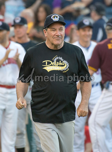 United States Senator Joe Donnelly (Democrat of Indiana) is introduced prior to the 56th Annual Congressional Baseball Game for Charity where the Democrats play the Republicans in a friendly game of baseball at Nationals Park in Washington, DC on Thursday, June 15, 2017. Photo Credit: Ron Sachs/CNP/AdMedia