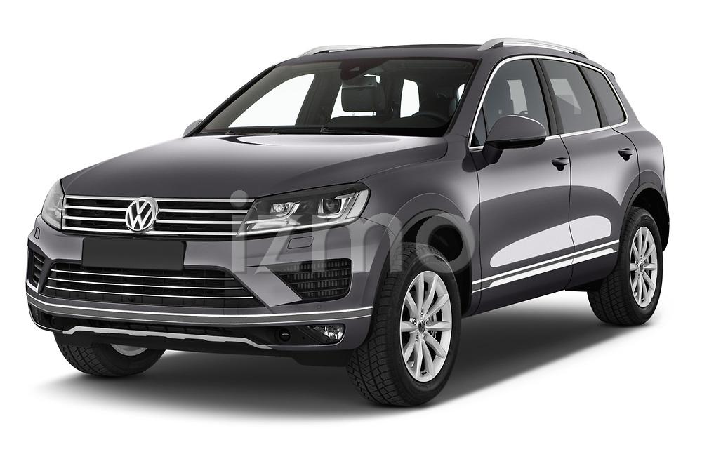 2017 Volkswagen Touareg Sport 5 Door SUV Angular Front stock photos of front three quarter view