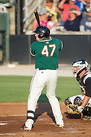 Chad Wallach (47) of the Greensboro Grasshoppers at bat against the Kannapolis Intimidators at CMC-Northeast Stadium on June 14, 2014 in Kannapolis, North Carolina.  The Grasshoppers defeated the Intimidators 4-2.  (Brian Westerholt/Four Seam Images)