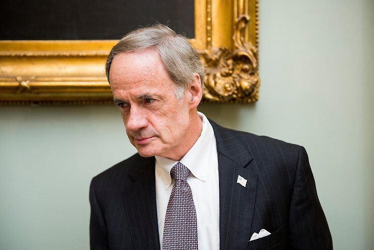 UNITED STATES - JUNE 10: Sen. Tom Carper, D-Del., speaks with a reporter as he arrives for the Senate Democrats' policy luncheon in the Capitol on Tuesday, June 10, 2014. (Photo By Bill Clark/CQ Roll Call)