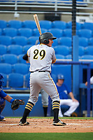 Bradenton Marauders left fielder Ty Moore (29) at bat during a game against the Dunedin Blue Jays on July 17, 2017 at Florida Auto Exchange Stadium in Dunedin, Florida.  Bradenton defeated Dunedin 7-5.  (Mike Janes/Four Seam Images)
