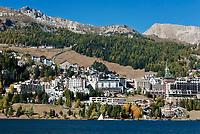 Schweiz, Graubuenden, Oberengadin, St. Moritzsee und St. Moritz Dorf | Switzerland, Graubuenden, Upper Engadin and St. Moritz Village