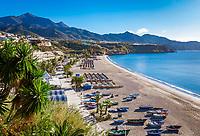 Spanien, Andalusien, Provinz Málaga, Costa del Sol, Nerja: Strand, Playa de Burriana | Spain, Andalusia, Costa del Sol, Nerja: beach, Playa de Burriana