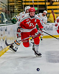 29 December 2018: Rensselaer Engineer Defenseman Will Reilly, a Junior from Toronto, ON, in second period action against the University of Vermont Catamounts at Gutterson Fieldhouse in Burlington, Vermont. The Catamounts rallied from a 2-0 deficit to defeat RPI 4-2 and win the annual Catamount Cup Tournament. Mandatory Credit: Ed Wolfstein Photo *** RAW (NEF) Image File Available ***