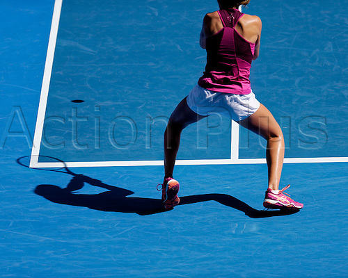28.01.2016. Melbourne, Australia. Johnana Konta (GBR) in action against Angelique Gerber (GER) during their women's singles match at the Australian Open Tennis Championship at Melbourne Park, Australia. Gerber beat Konta 7:5, 6:2