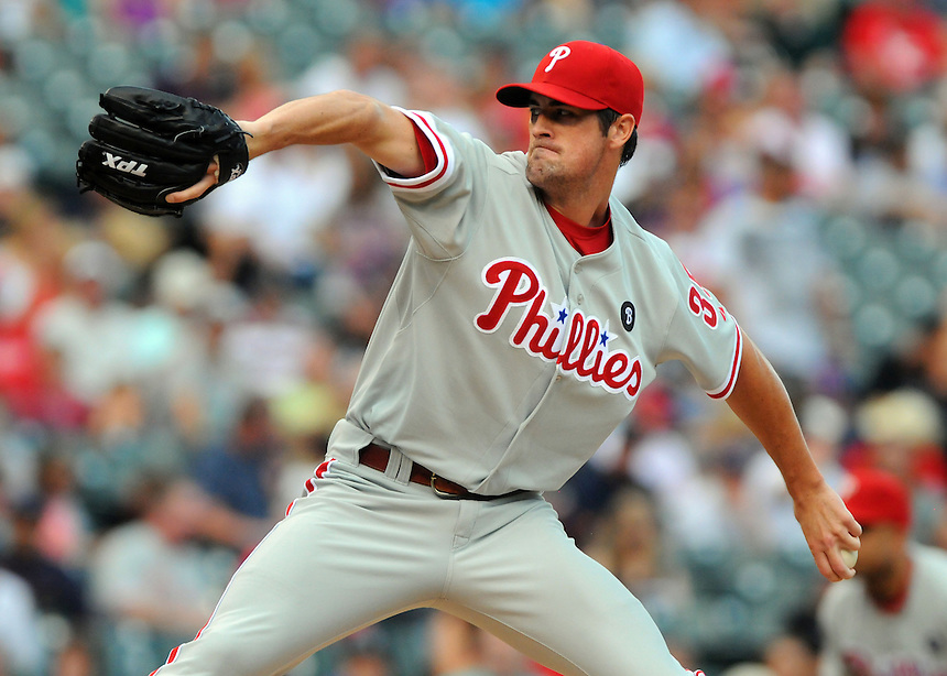 01 AUGUST 2011: Philadelphia Phillies starting pitcher Cole Hamels (35) during a regular season game between the Philadelphia Phillies and the Colorado Rockies at Coors Field in Denver, Colorado. The Phillies beat the Rockies 4-3 in 10 innings. *****For Editorial Use Only*****