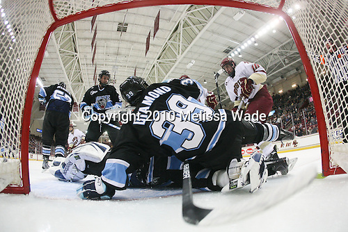 Josh Van Dyk (Maine - 5), Shawn Sirman (Maine - 1), Joey Diamond (Maine - 39), Jimmy Hayes (BC - 10) - The Boston College Eagles defeated the University of Maine Black Bears 6-1 on Friday, January 15, 2010, at Conte Forum in Chestnut Hill, Massachusetts.